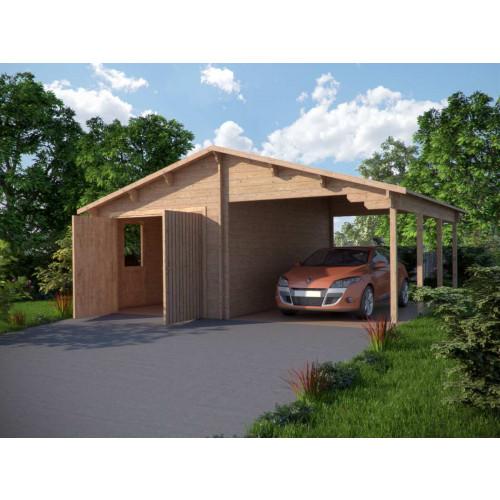 Garage met carport 44 mm 680x560 cm